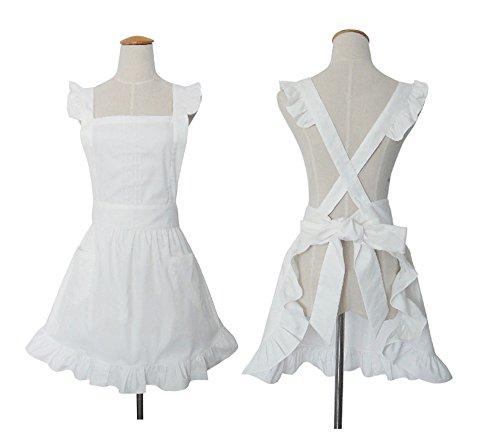 ürzen für Frauen der Dame 's Kitchen Kochen Reinigung Dienstmädchen Kostüm mit Taschen (Retro-kostüm Für Frauen)