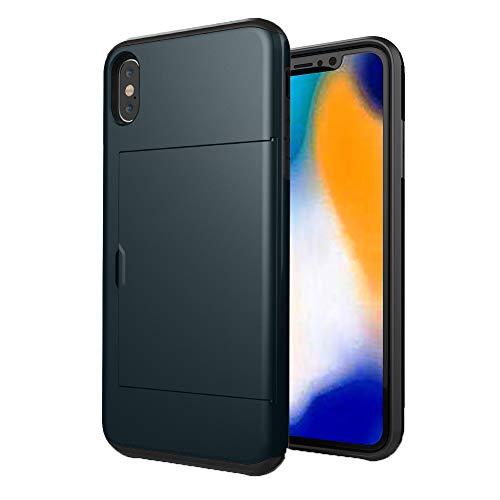HONTECH Schutzhülle für iPhone XS Max 16,5 cm (16,5 Zoll) 2018, schlanke Passform, Hybrid-Schutzhülle mit Kartenschlitz, stoßfest, iPhone XS Max 6.5