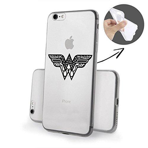 finoo | iPhone 6 / 6S Weiche flexible lizensierte Silikon-Handy-Hülle | Transparente TPU Cover Schale mit Wonder Woman Motiv | Tasche Case mit Ultra Slim Rundum-schutz | Every Mom Logo transparent