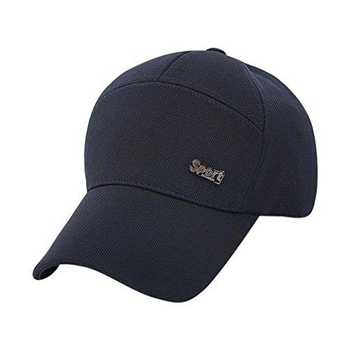 Rawdah Mujeres Hombres sombrero gorra de béisbol solido Hip Hop Ajustable (Azul marino)