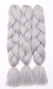 3 Pcs/300g 24'' Two Ombre Kanekalon Braiding Hair Synthetic Braid Hair Extensions Silver Grey