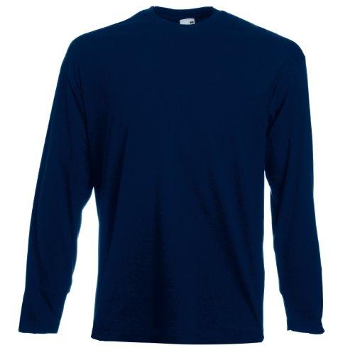 Fruit of the loom t-shirt a manica lunga da uomo con arazzo collo rotondo - cotone, blu - profondo blu marino, 97% cotone 3% poliestere.\n 100% cotone, uomo, large