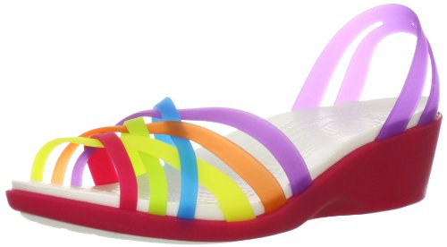 Crocs Huarache Mini Wedge W, Sandali, Donna Multicolore (Multi/Geranium)