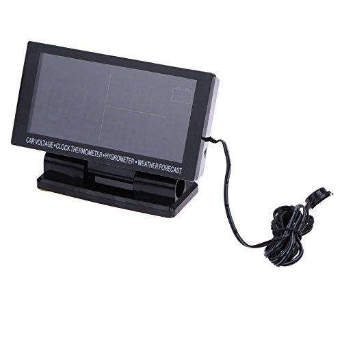 LCD-Digitaluhr fürs Auto, Voltmeter, Thermometer und Hygrometer, Wettervorhersage
