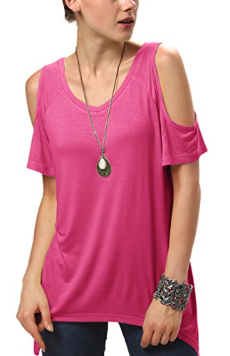Urbancoco Damen Vogue Schulterfrei unregelmäßige sidetale Tunika Top Shirt (L, hot pink)