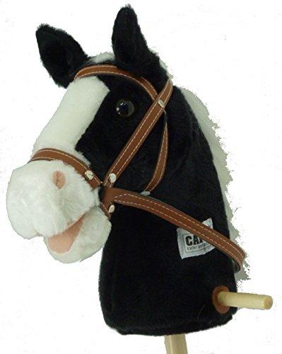 Steckenpferd Schaukelpferd Reitpferd Pferd am Holz Stab in schwarz und weiß ST01