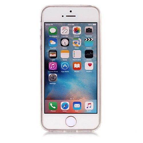 Coque iPhone 5S , iPhone SE Etui TPU , CaseLover Chat Motif Mode Etui Coque TPU Slim pour Apple iPhone 5 / 5S / SE Mode Flexible Souple Soft Case Couverture Housse Protection Anti rayures Mince Transp Papillon