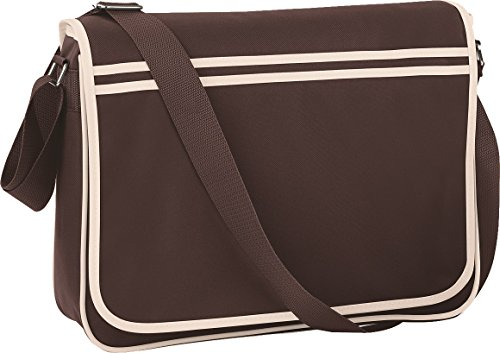 Bagbase-Borsa vintage regolabile a contrasto, stile Messenger-Borsa a tracolla, taglia unica Chocolate/ Sand