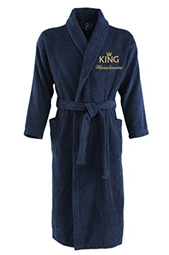 Nashville print factory Sol´s Bademantel Palace Morgenmantel Bestickt mit Ihrem Wunschname und Motiv/King/Queen/Krone Gold Partner-Look Sauna Bad Name (L/XL, King + Name)