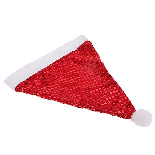 P PRETTYIA Glitzer Weihnachtsmütze Nikolausmütze Satan Mütze Christmas Mütze als Dekoration und Foto Requisiten - (Baby Satan Kostüm)