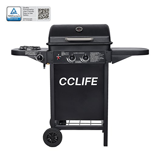 CCLIFE Carro Barbacoa de Gas Parrilla Barbacoa Gas con 2+1 quemadores 2 Fuegos BBQ, Color:2+1 Negro