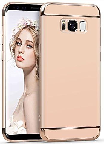 Galaxy S8 Hülle, CiuTek Ultra Schlank 3 In 1 Hybrid Elektroplattierter Kappen Hart Hard PC Case Schale Schutz Schutzhülle Tasche Bumper mit Chrom Rahmen für Samsung Galaxy S8(Golden)