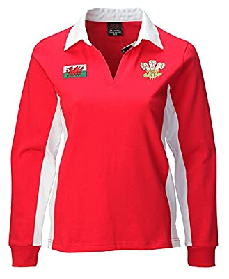 Ladies New Welsh Contrast Long Sleeve Red Rugby Shirt by Welsh Superstore Rugby Shirts