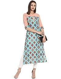 Janasya Women's Crepe Multicolor Digital Print Round Neck 3/4 Sleeve Knee Length Casual Straight Kurta