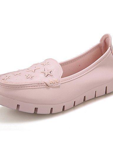 ShangYi gyht Scarpe Donna-Mocassini-Tempo libero / Formale / Casual-Comoda-Piatto-Microfibra-Rosa / Bianco White