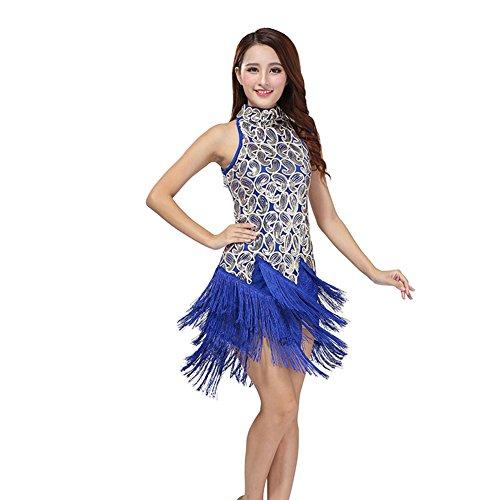 Etopfashion Dame Latein Salsa Tango Cha Cha Ballroom Wettbewerb Sequined Quasten Tanzkleid (Schwarz Contemporary Dance Kostüm)