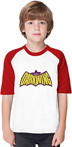 The Duck Knight Darkwing Soft Material Baseball Kids T-Shirt by Benito Clothing - 100% Organic, Hypoallergenic Cotton- Casual & Sports Wear - Unisex for Boys and Girls 5-6 years (100% Material Duck Cotton)
