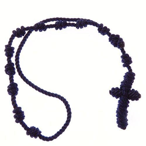 Marineblau verknotete Schnur Seil Rosenkranz Perlen Armband - Verstell- und unisex