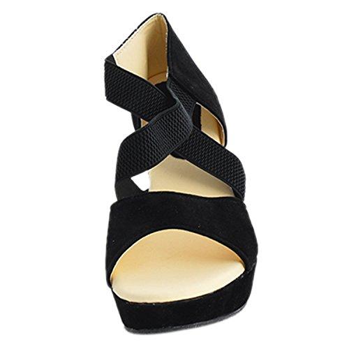 Kanchan Women'S Black Velvet Wedge Sandals (5, Black)