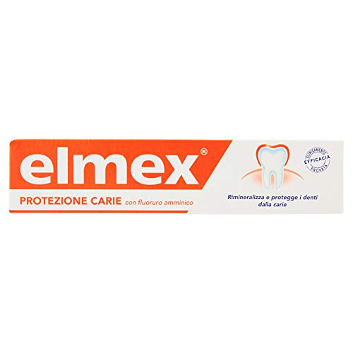 Scheda dettagliata Dentifricio Elmex Protezione Carie, 4 confezioni da 75 ml, remineralizza le area dello smalto danneggiate e protegge i denti dalle carie