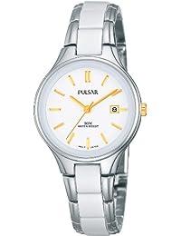 Pulsar Uhren PH7273X1 - Reloj analógico de cuarzo para mujer con correa de cerámica, color blanco