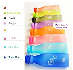4PC BPA-Free Candy Color Water Bottle with Hand Strap Lanyard for Sports Sporting with Cap Small Perfect for Adult and Kids Children School 18.5-ounce/550ML(Random Color)