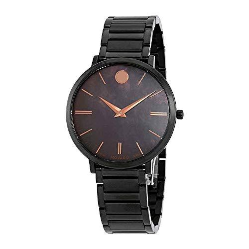 Movado Women's Ultra Slim 35mm IP Steel Bracelet Swiss Quartz Watch 0607211