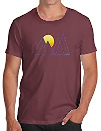 TWISTED ENVY Triangle Mountain Sunset Men's Funny 100% Cotton T-Shirt, Crew Neck, Comfortable and Soft Classic Tee With Unique Design