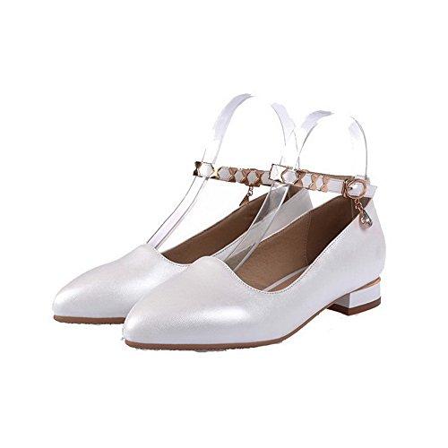 VogueZone009 Femme à Talon Bas Matière Souple Mosaïque Boucle Pointu Chaussures Légeres Blanc