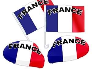 4 tlg. Alsino Frankreich WM Fanartikel Auto Fanset Fanpaket AutoflaggenSpiegelüberzug Autofahne