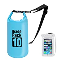 Premium Waterproof Dry Bag with Shoulder Strap - 10L Floating Ocean Pack, Lightweight Stuff Sack with Cell Phone Bag Outdoor Gear for Traveling Kayaking Hiking Camping Rafting and More (Blue)
