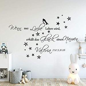 Wandschnörkel® Wandtattoo mit Namen Spruch Wandaufkleber AA136 Wenn aus Liebe Leben wird.Wand Spruch Kinderzimmer Baby Mädchen Jungen Namen Türaufkleber, personalisiert