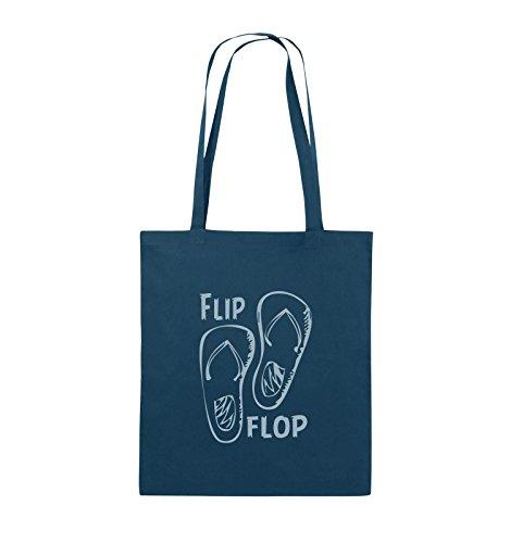 Comedy Bags - FLIP FLOP - SCHUHE - Jutebeutel - lange Henkel - 38x42cm - Farbe: Schwarz / Silber Navy / Eisblau