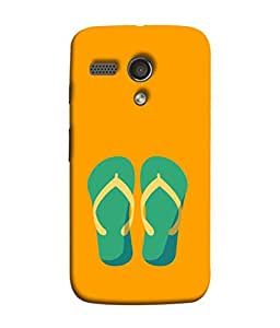 FUSON Designer Back Case Cover for Motorola Moto G :: Motorola Moto G (1st Gen) :: Motorola Moto G Dual (Green Chapplas With Yellow Belts On Orange Back)