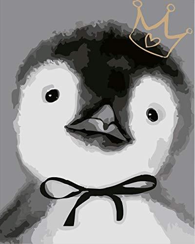MAGICXYZ Malen Nach Zahlen DIY Vorgedruckt Leinwand-Ölgemälde Pinguin 40x50 cm Geschenk für Erwachsene Kinder Malen Nach Zahlen Kits Home Haus Dekor(Ohne Rahmen)