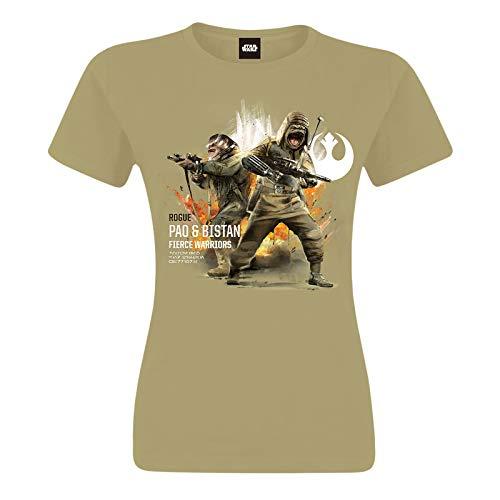Star Wars Pao & Bistan Girl Shirt Frauen T-Shirt Sand, Größe:XL