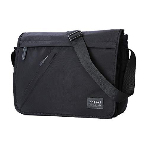Hanke Umhängetasche, waschbare Schultertasche wasserdichte Herrentasche für A4 Datei 9.7 Laptop Messenger Bag 14 Zoll Schwarz (Umhängetasche-datei)