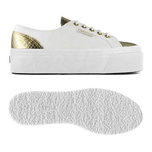Chaussures Dame - 2790-cotleasnakew White-Gold