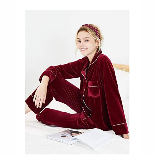 Hiver Automne Et Hiver Velvet Pyjama Femmes À Manches Longues Deux-Suit Costume De Mode Confortable Service À Domicile,Red,M