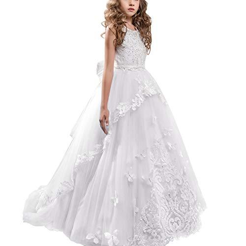 OBEEII Mädchen Kleid Kinder Rüschen Spitze Party Brautkleider 6-7 Jahre Weiß