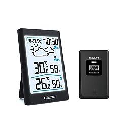 BALDR B0134 Wetterstation Funk mit Außensensor, Digital Thermometer Hygrometer Innen und Außen Raumthermometer Hydrometer Feuchtigkeit mit Wettervorhersage, Uhrzeitanzeige, Wecker und Nachtlicht