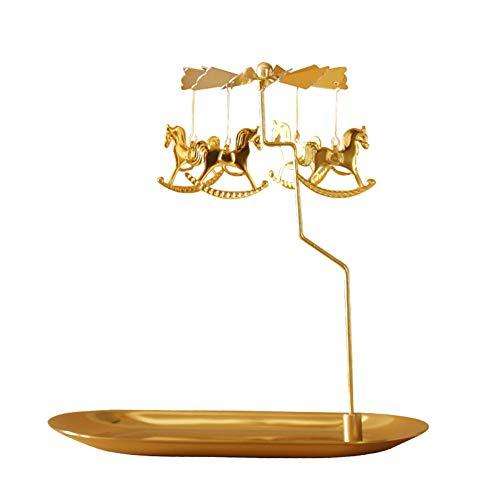 TY-ZWJ Rotierende Tray Kerzenhalter, Weihnachts Rotating Teelicht Gold-Leuchter Romantische Geschenk-Haupttischdekoration Weihnachten Danksagung Hochzeit Kerzenständer,A