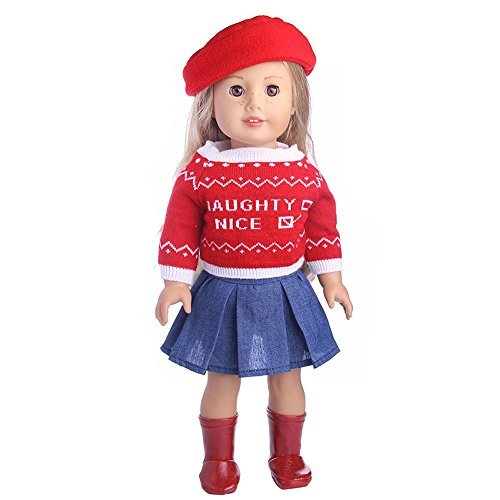 Doll Clothes 5pcs Outfit fit for 18 inch American Girl Dolls Includes Hat, Boots, Sweater and Skirt (5pcs Outfit)