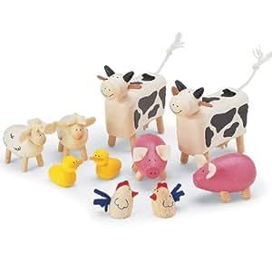 Wooden Farm Animals Set (10 pieces)