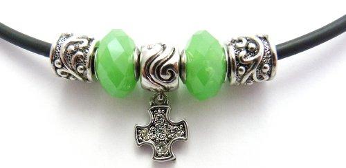 Perline catena, super regalo per conferma croce con perline verdi