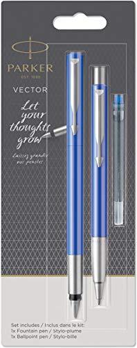 Parker Vector Parure Stylo Bille et Stylo Plume Bleu, Taille Moyenne