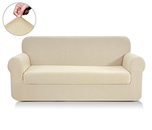 CHUN YI 2-Stück Jacquard Stretchhusse für Sofa, Sofabezug, Sofahusse, mehrere Farben (3-Sitzer, Beige)