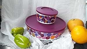 TUPPERWARE iluminas 2,5 l/violet/motif cercles en forme de bol rond avec couvercle