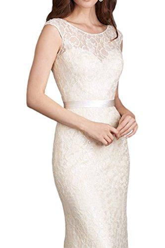 Victory Bridal Einfach Spitze Brautjungfernkleider Etui Bodenlang Abendkleider Partykleider Neu Elfenbein