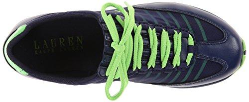 Lauren Ralph Lauren Falon Fashion Sneaker Modern Navy/Lime Pearl Net/Cotton Mesh